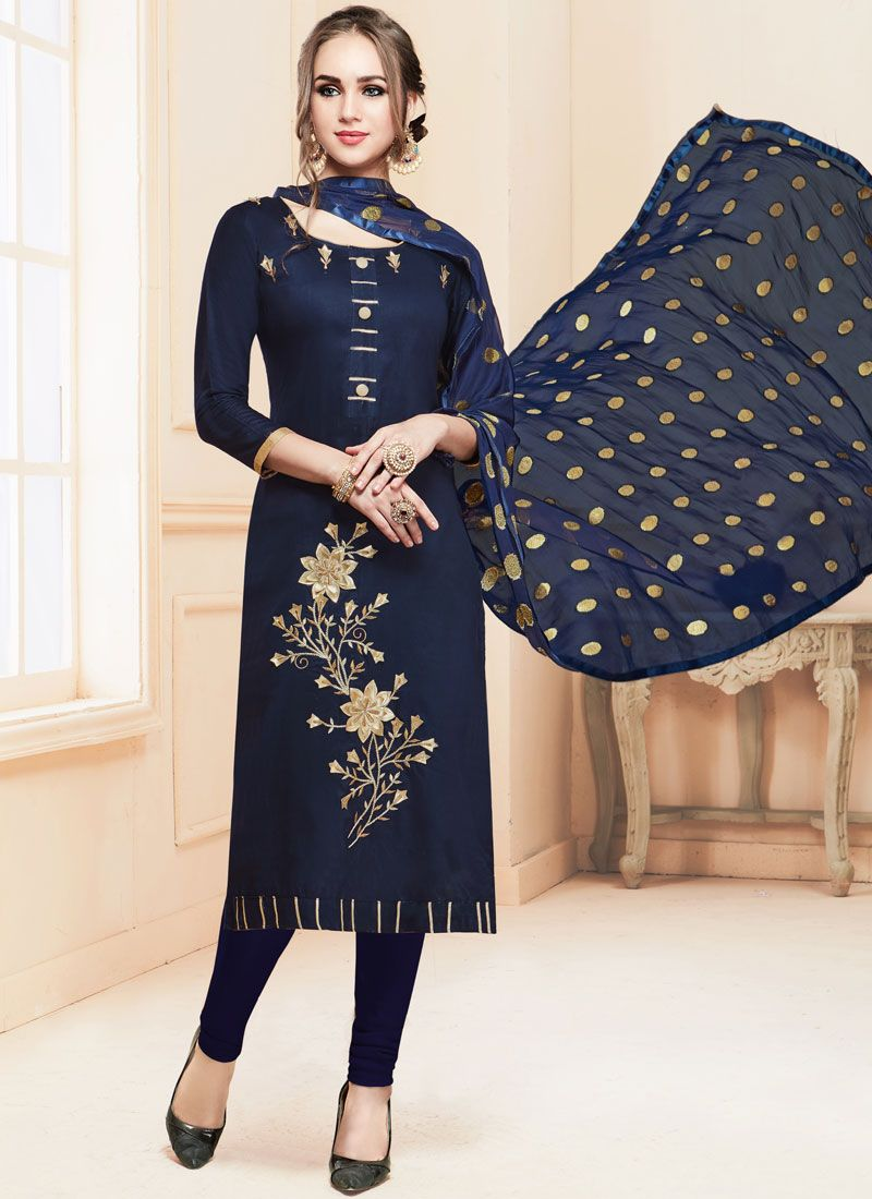 Cotton   Embroidered Churidar Salwar Kameez in Navy Blue