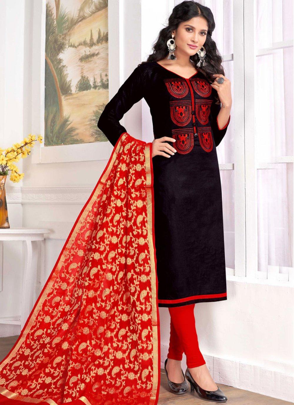 Cotton   Embroidered Churidar Salwar Suit in Black