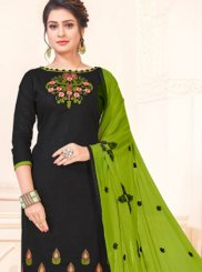 Cotton   Embroidered Churidar Suit in Black