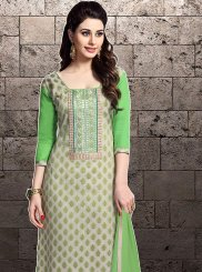 Cotton   Embroidered Designer Straight Suit in Green