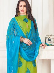 Cotton   Embroidered Green Churidar Suit