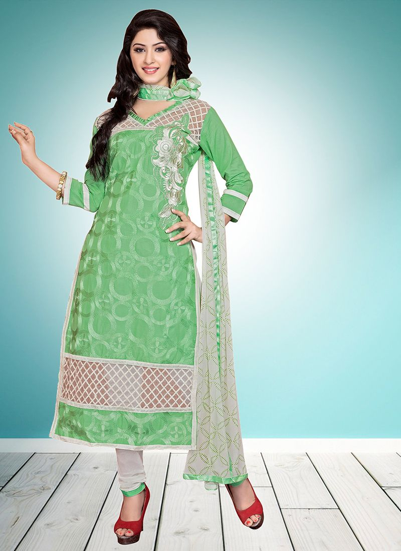 Cotton   Embroidered Green Designer Straight Suit