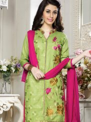 Cotton   Embroidered Green Salwar Kameez