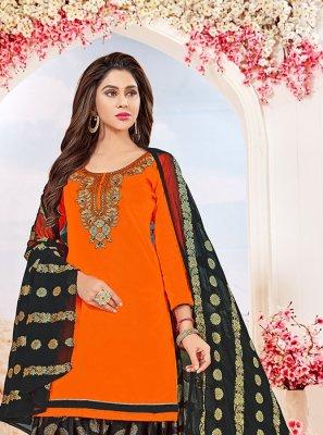 Cotton   Embroidered Orange Salwar Kameez