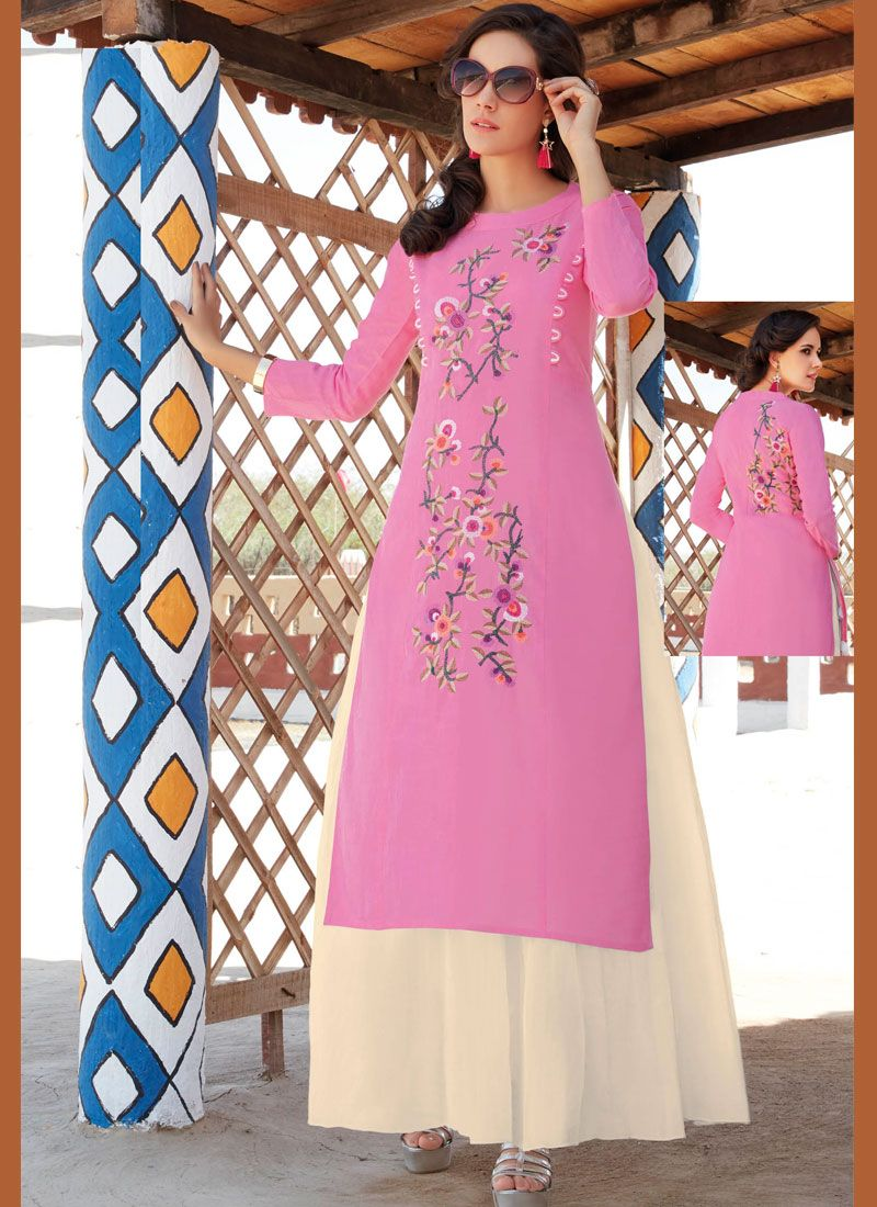 Cotton   Embroidered Work Casual Kurti