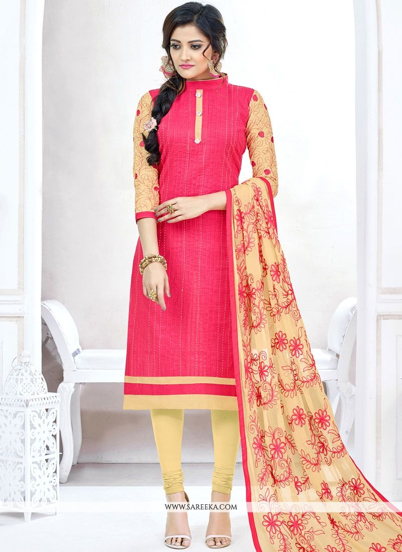 Cotton   Embroidered Work Churidar Suit