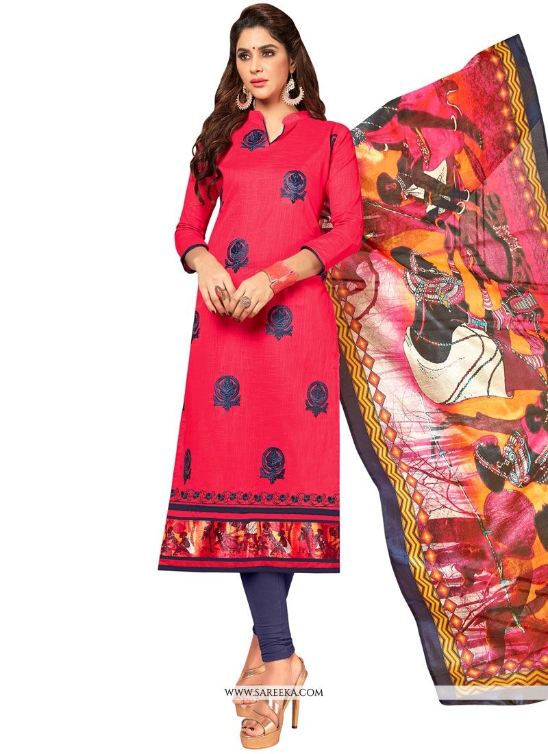 Cotton   Embroidered Work Salwar Suit