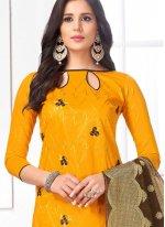 Cotton   Embroidered Yellow Churidar Salwar Kameez