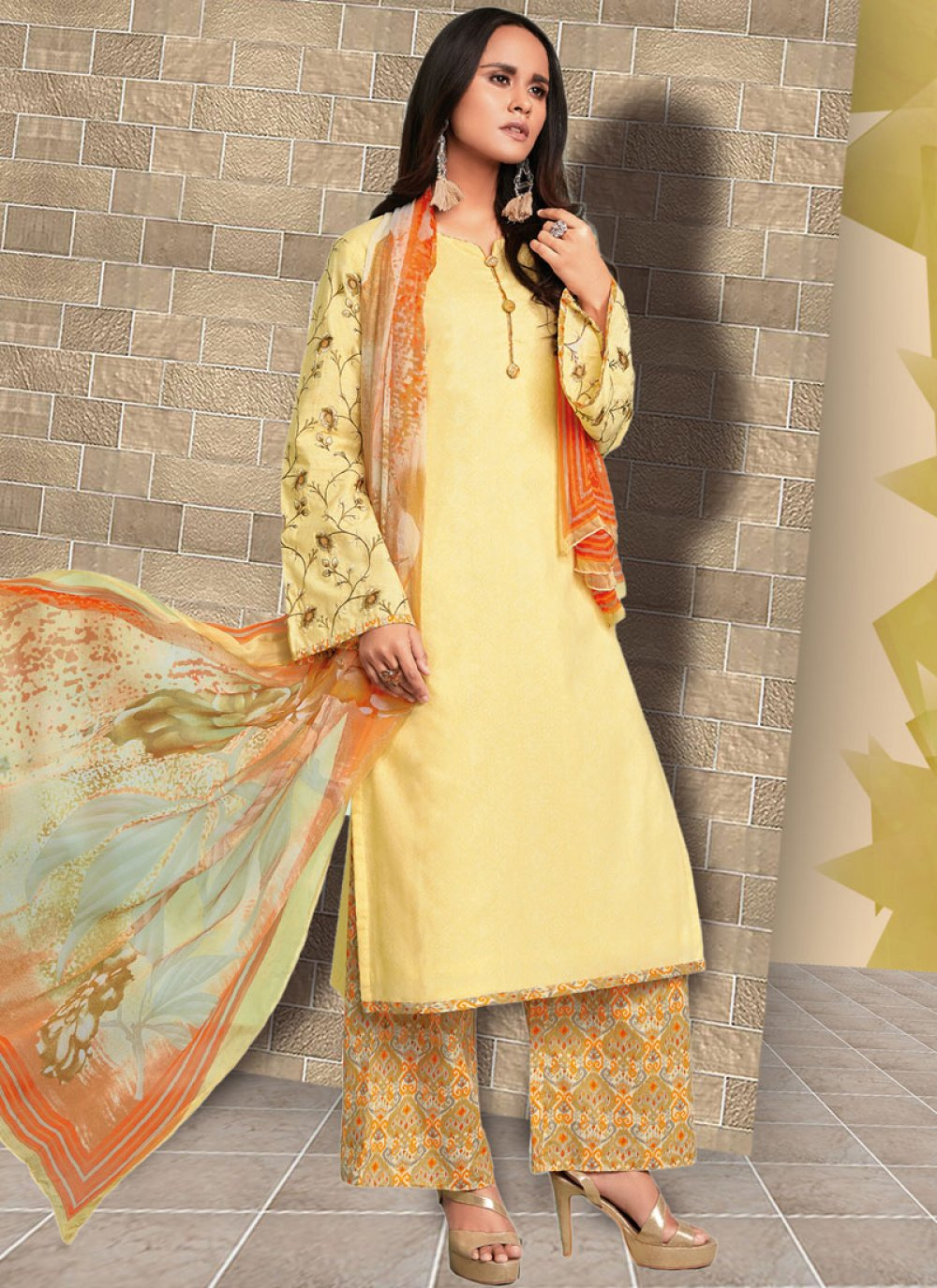 Cotton   Embroidered Yellow Designer Palazzo Suit