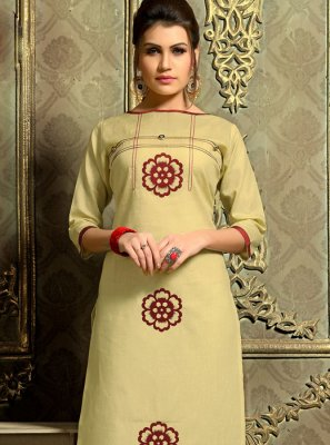 Cotton   Fancy Khaki Casual Kurti
