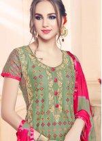Cotton   Green Embroidered Churidar Designer Suit