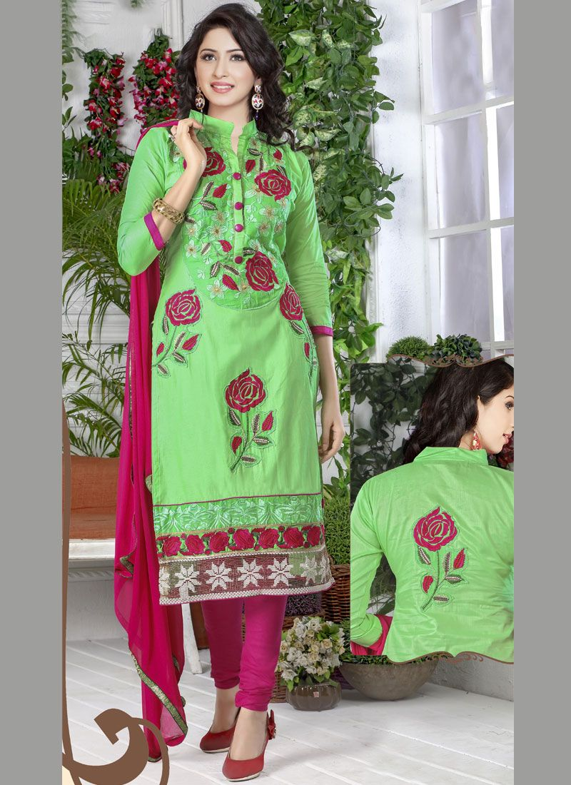 Cotton   Green Embroidered Designer Straight Suit