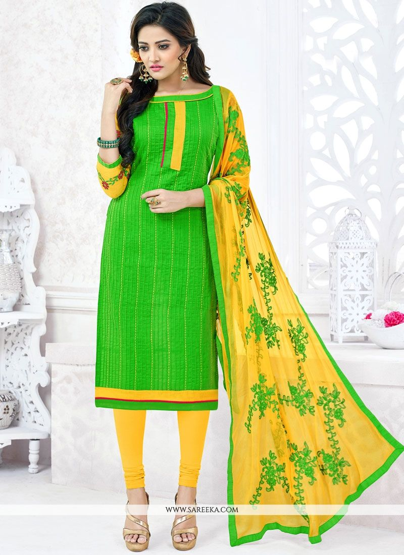Cotton   Green Embroidered Work Churidar Suit