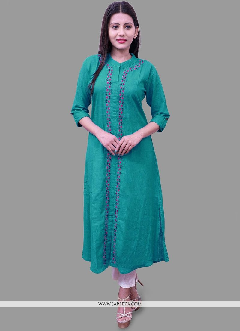 Cotton   Green Party Wear Kurti