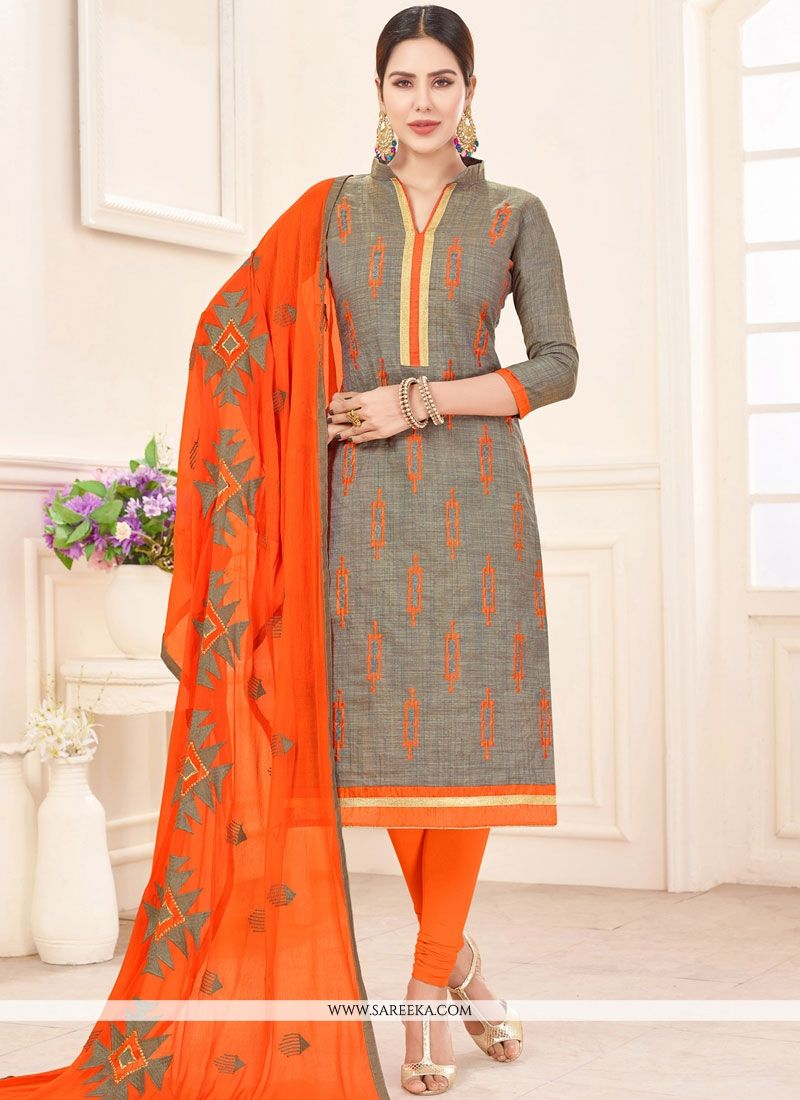 Cotton   Grey Embroidered Work Churidar Suit