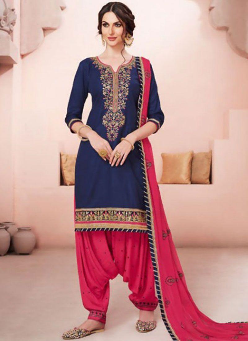 9080bf1336 Buy Cotton Hot Pink and Navy Blue Resham Work Designer Patiala Suit Online -
