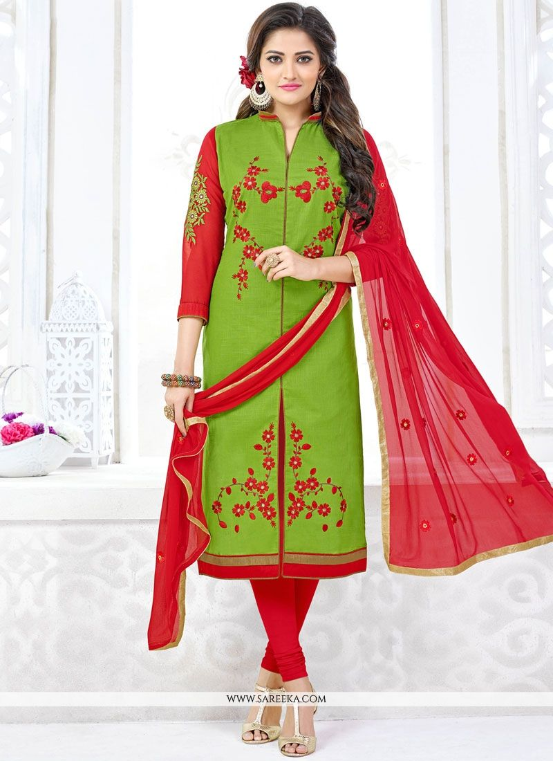 Cotton   Lace Work Churidar Suit