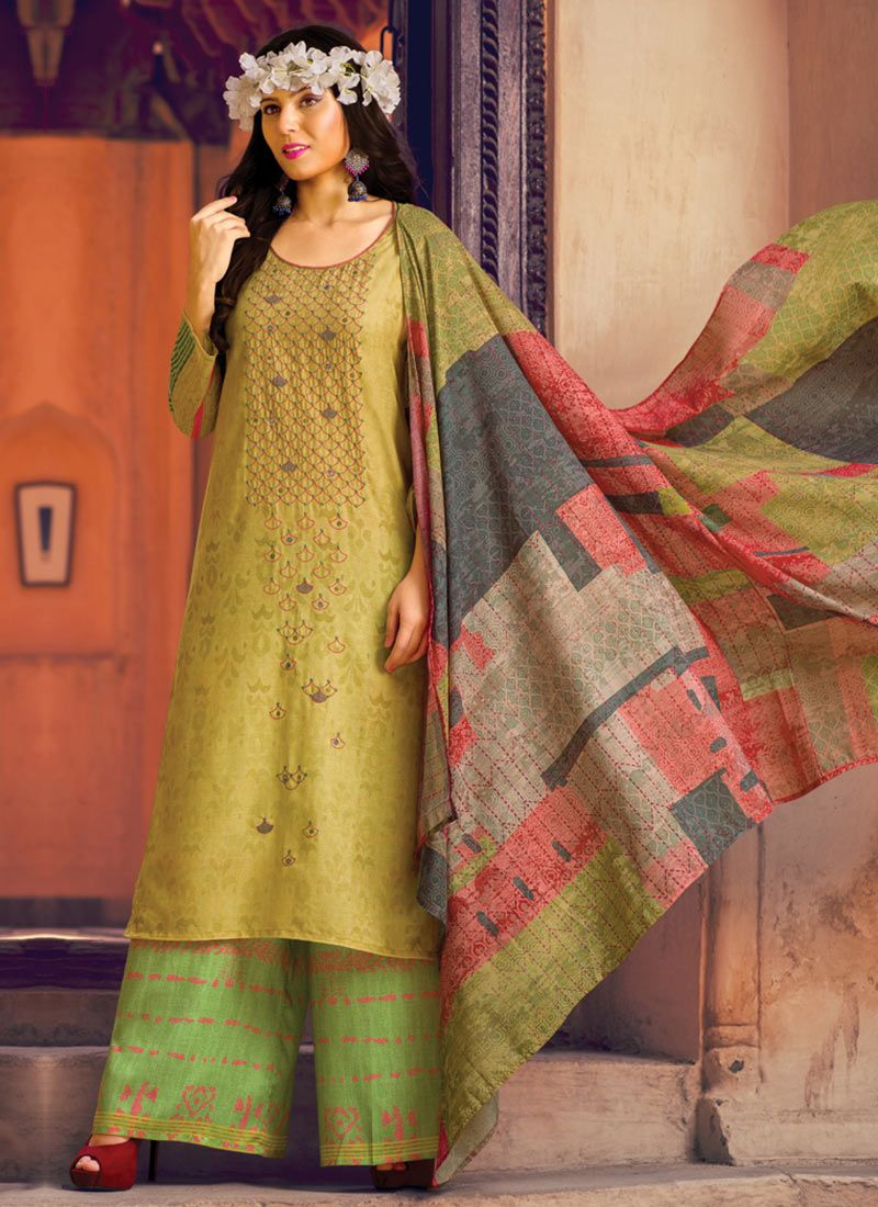 cotton lawn Green Designer Palazzo Suit