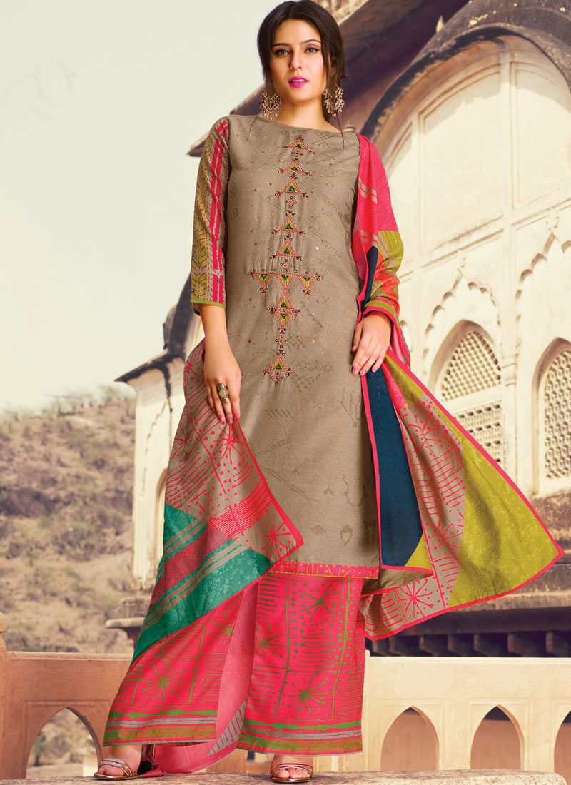 cotton lawn Multi Colour Designer Palazzo Suit