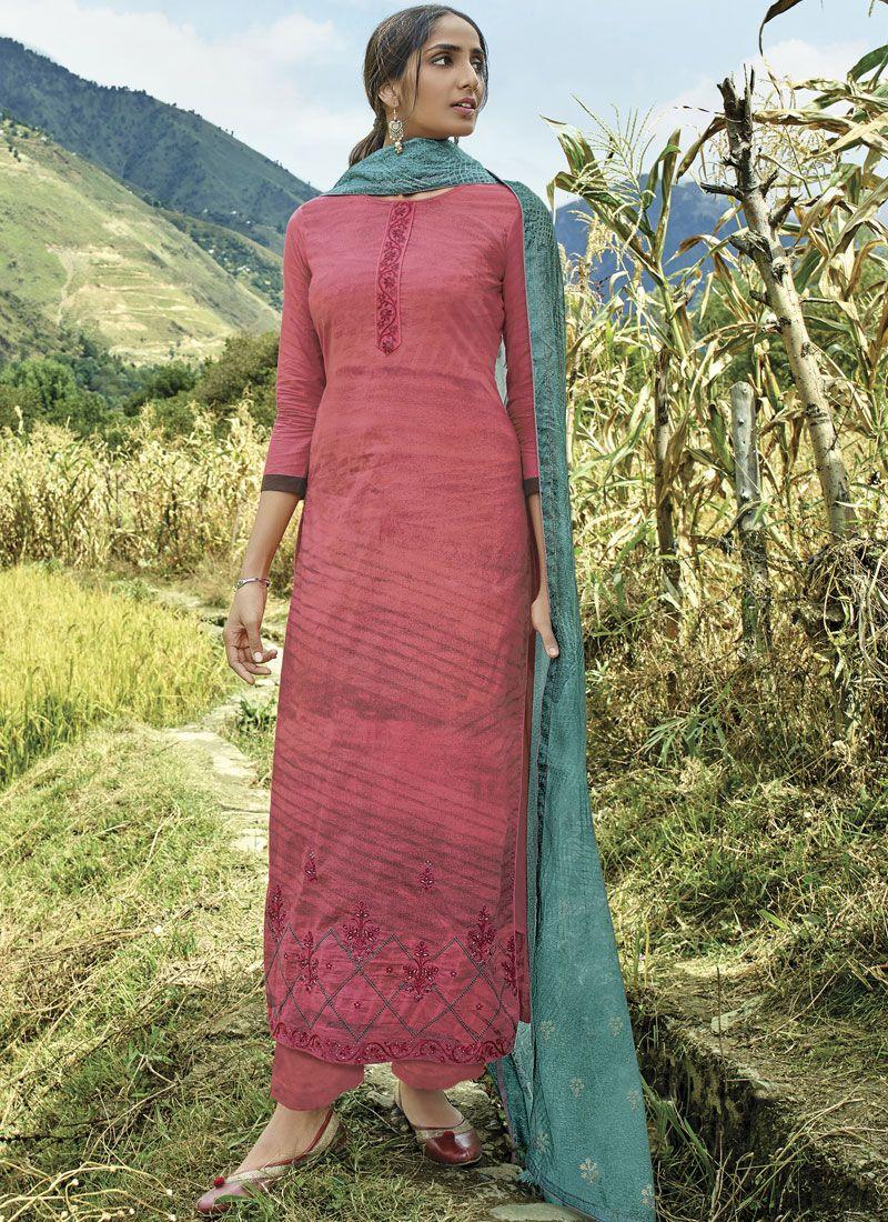 Cotton Lawn Pink Designer Suit