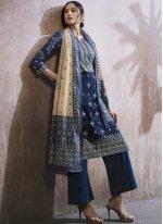 Cotton Lawn Resham Designer Palazzo Suit in Blue