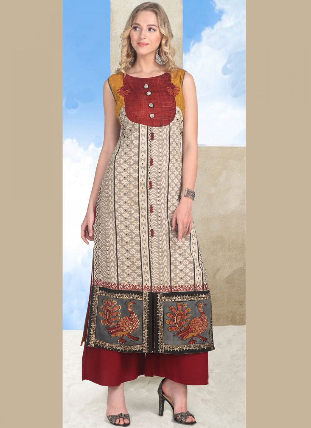 Cotton   Multi Colour Party Wear Kurti