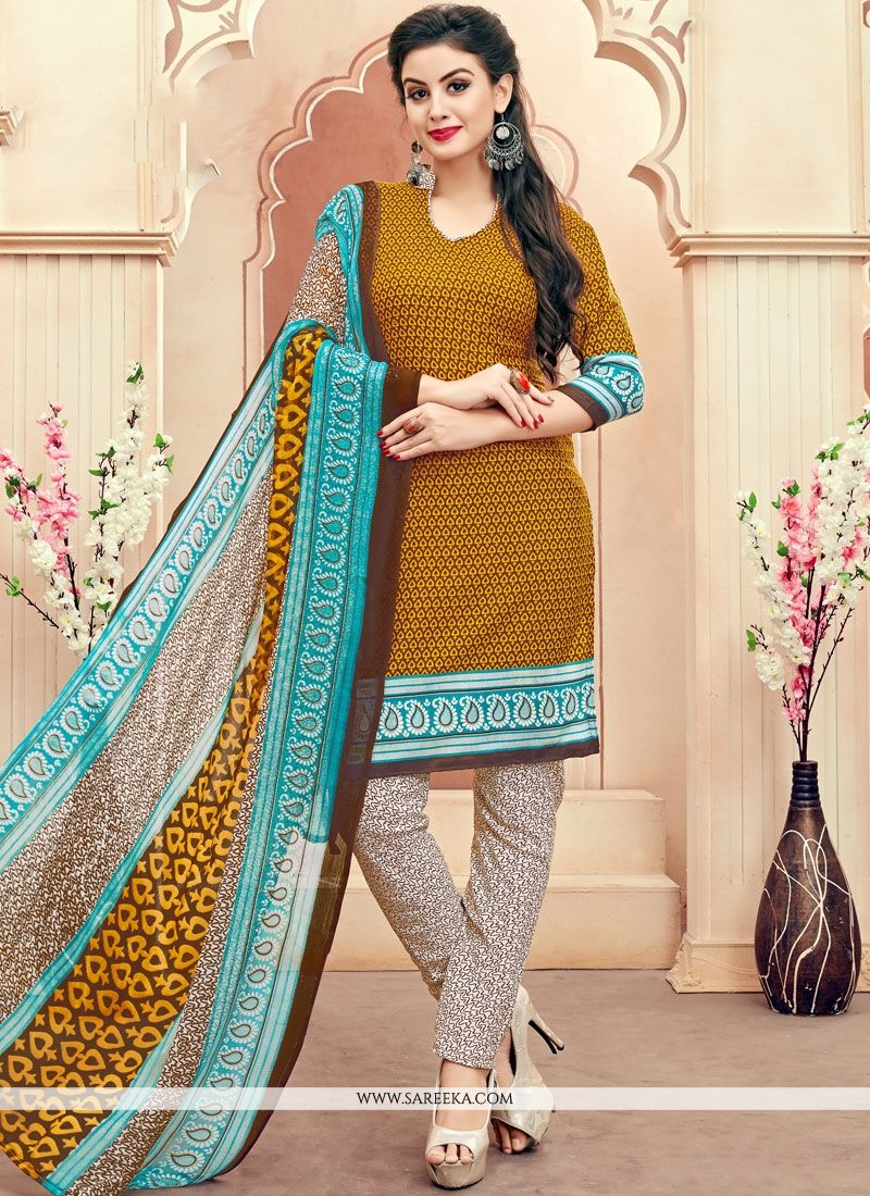 Cotton   Multi Colour Print Work Churidar Suit
