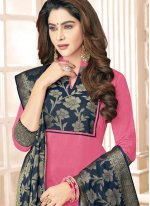 Cotton   Navy Blue and Pink Resham Work Salwar Kameez