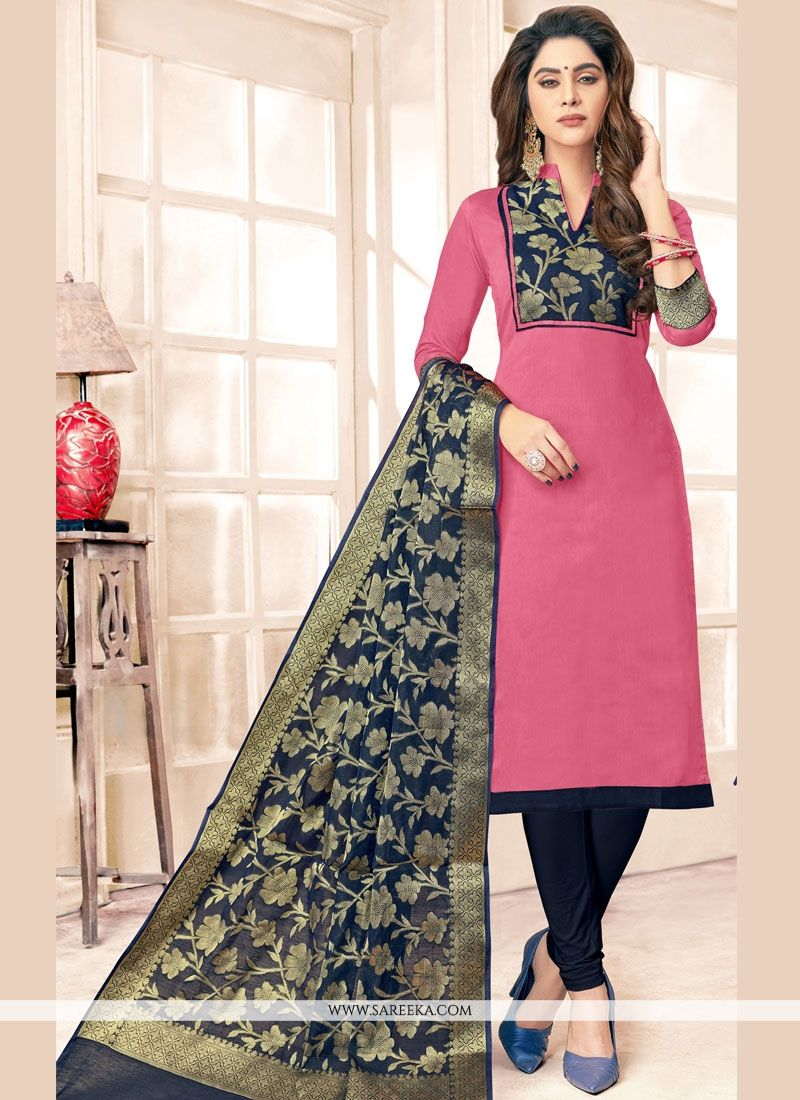 Cotton   Navy Blue and Pink Resham Work Salwar Kameez