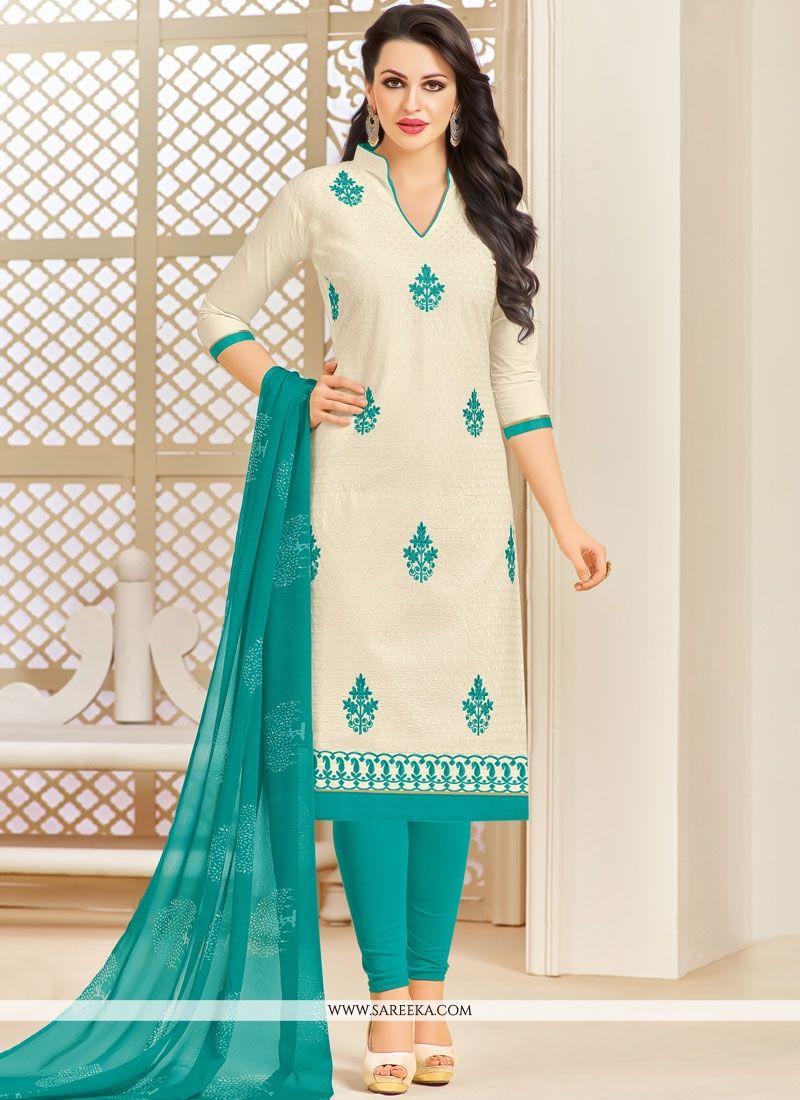Cotton   Off White Embroidered Work Salwar Kameez