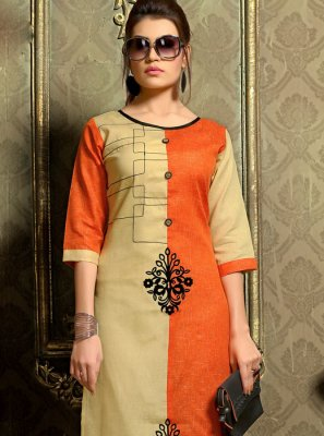 Cotton   Orange Fancy Casual Kurti