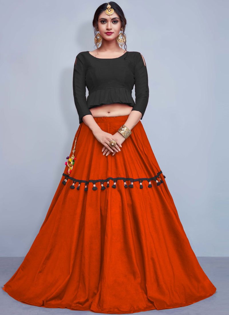 Cotton   Orange Fancy Readymade Lehenga Choli