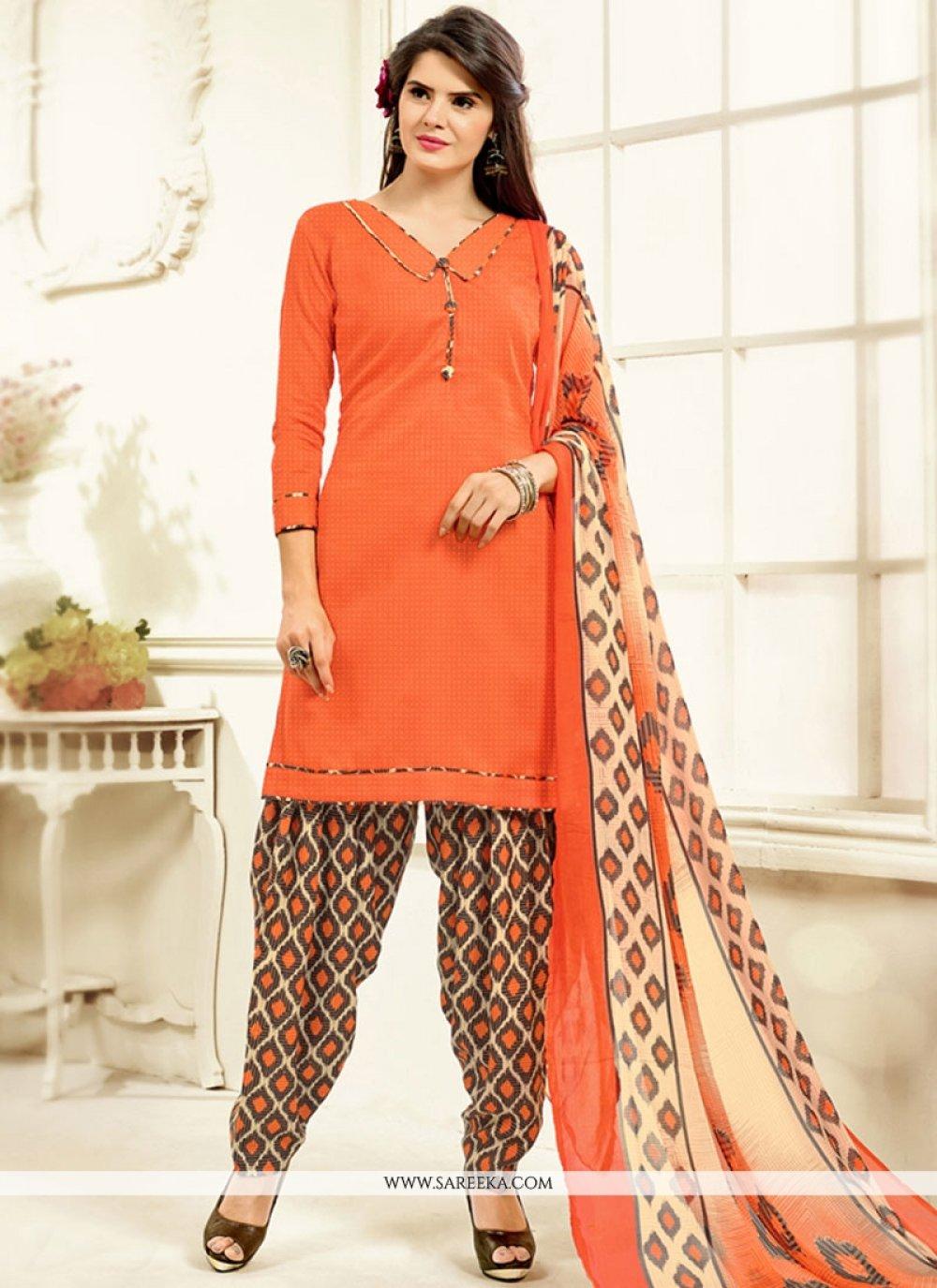 Cotton   Orange Printed Work Work Patiala Salwar Kameez