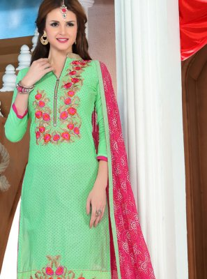 Cotton   Pant Style Suit in Pink and Sea Green