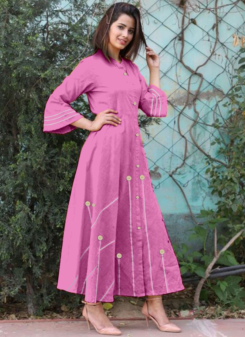 Cotton   Pink Buttons Work Casual Kurti