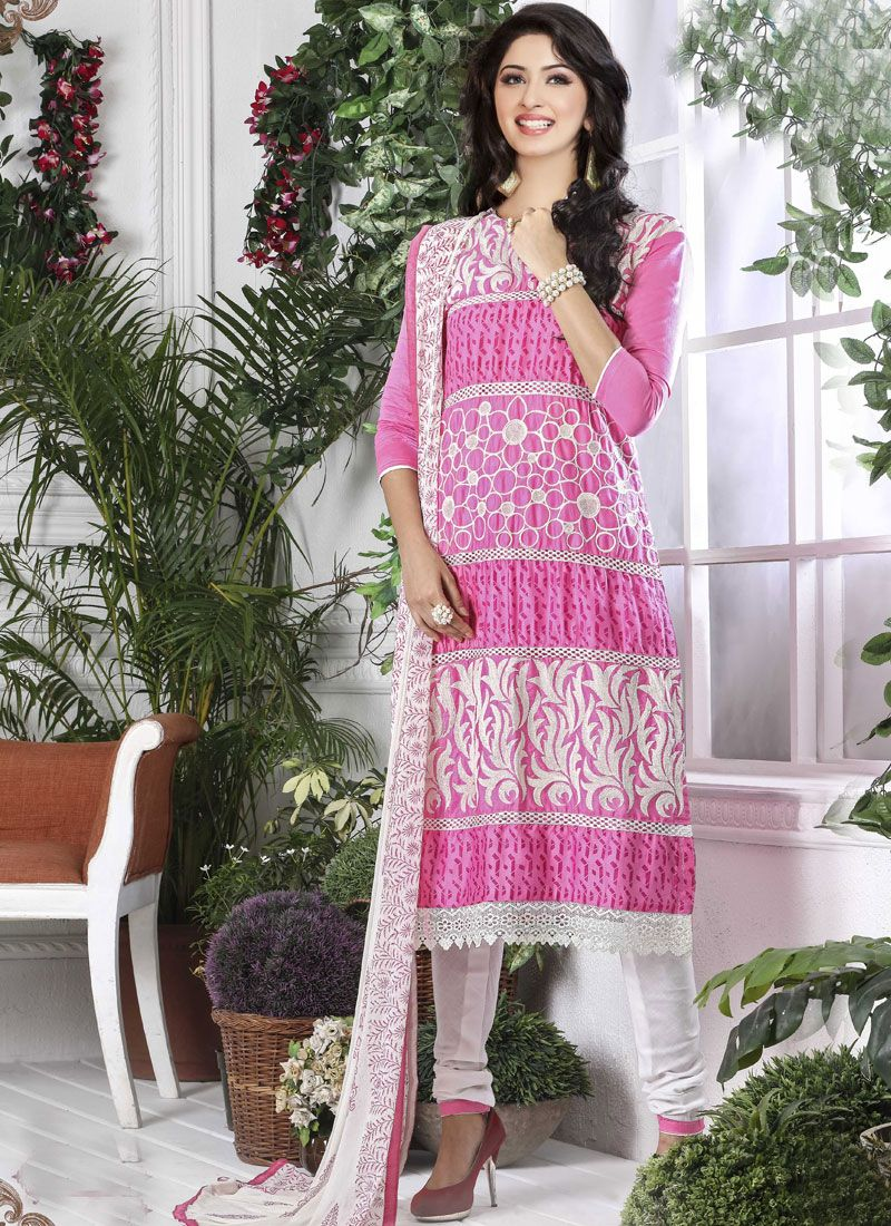 Cotton   Pink Designer Straight Suit