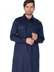 Cotton   Plain Blue Kurta Pyjama