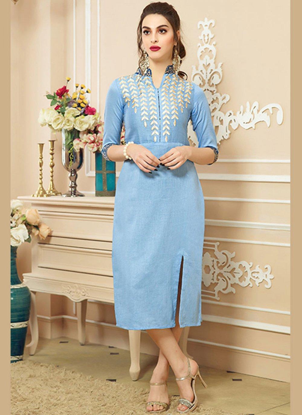 Cotton   Print Blue Party Wear Kurti