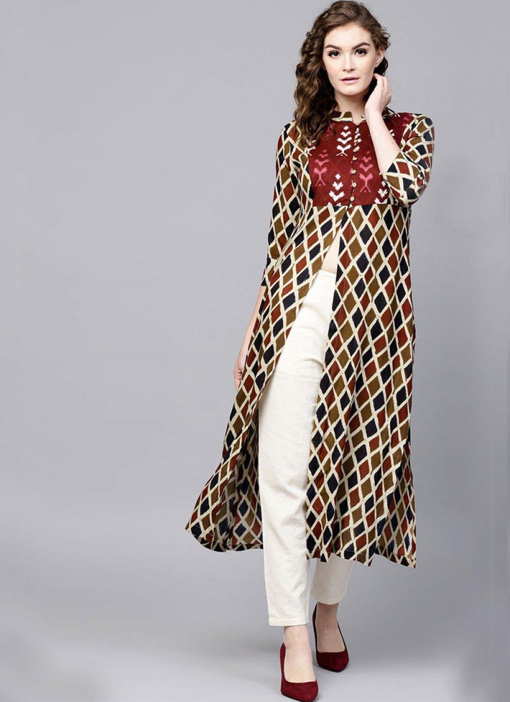 Cotton   Print Casual Kurti in Multi Colour