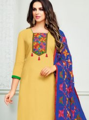 Cotton   Print Churidar Suit in Yellow