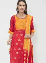 Cotton   Print Hot Pink Churidar Suit