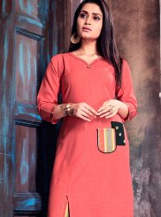 Cotton   Print Pink Party Wear Kurti