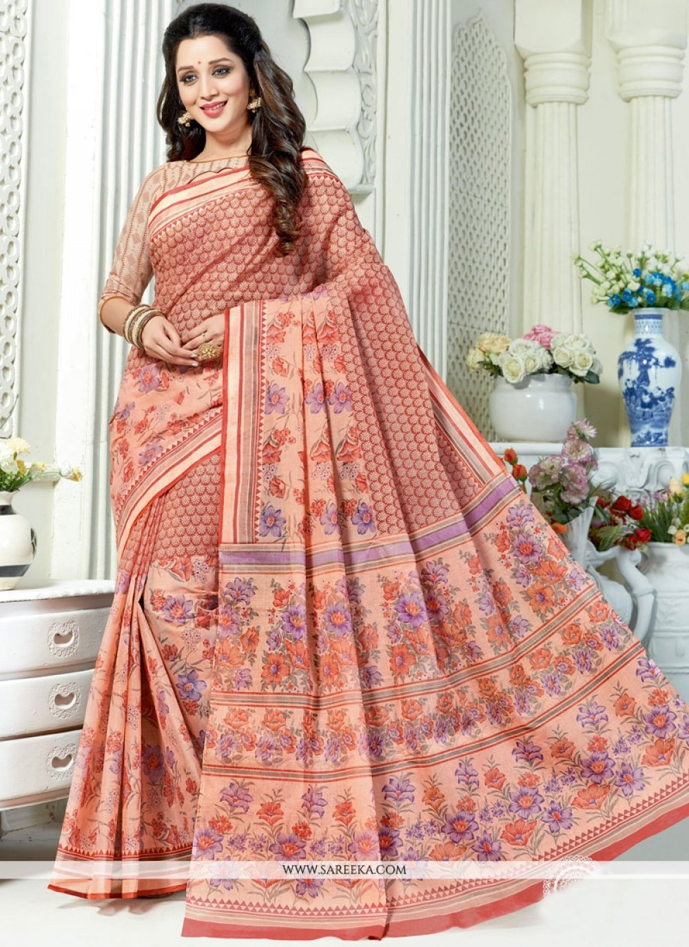 Cotton   Print Work Casual Saree