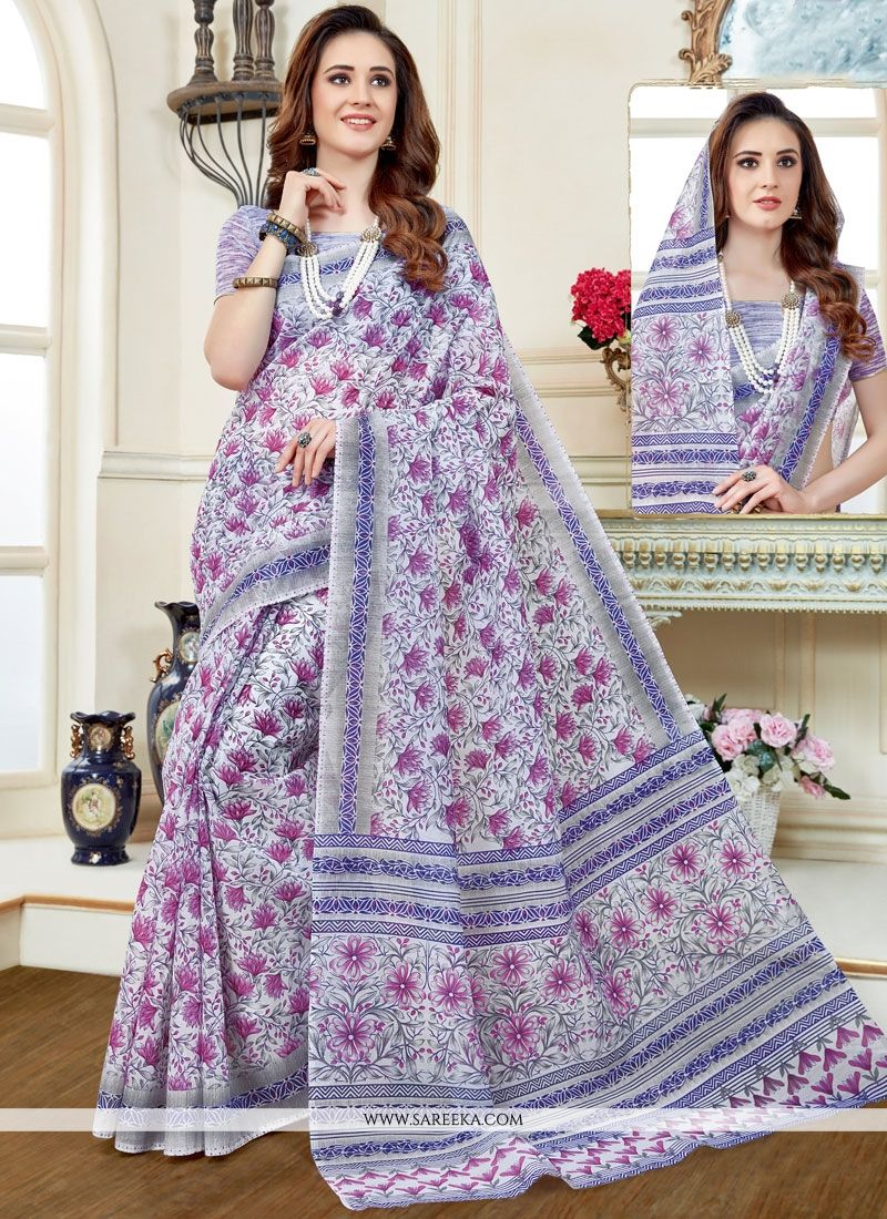 Cotton   Print Work Casual Saree