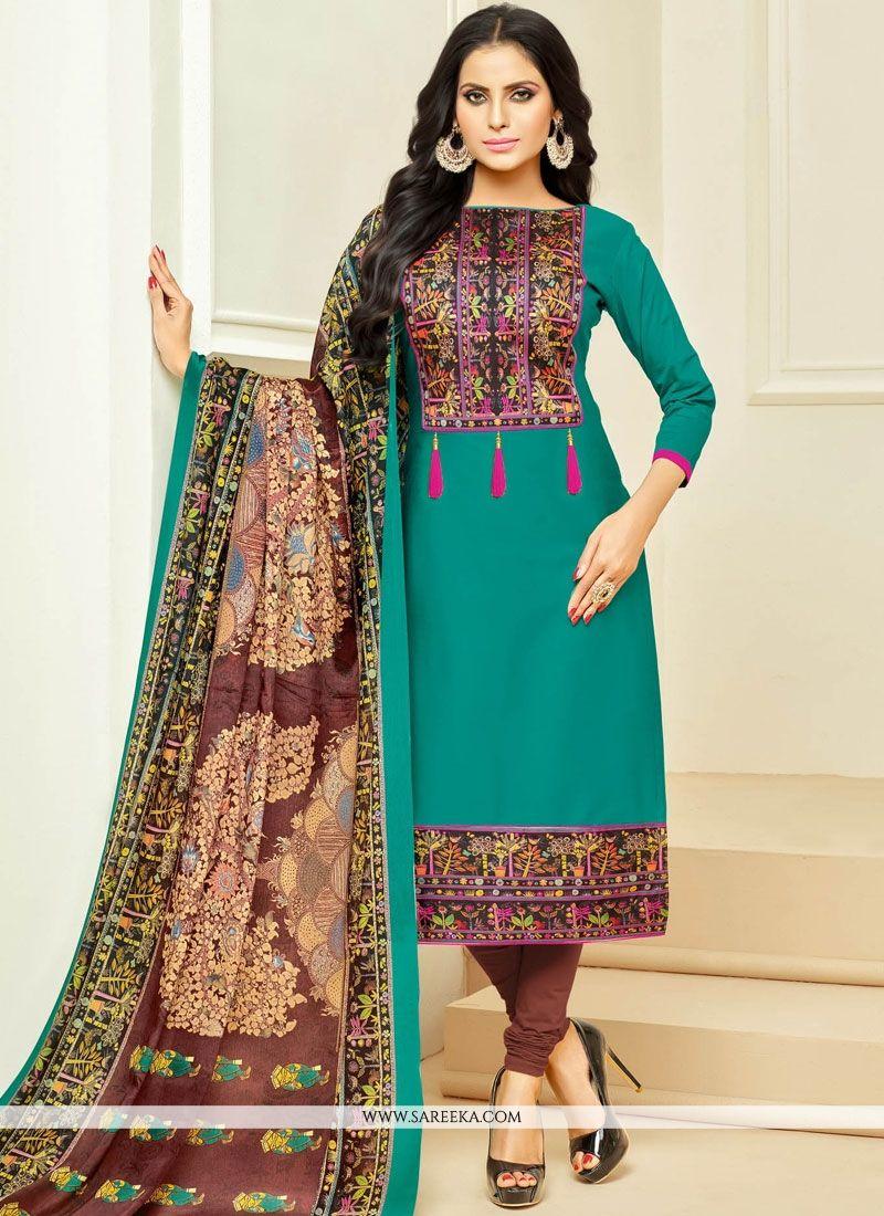 Shop Cotton Print Work Churidar Suit Online : 71163 -