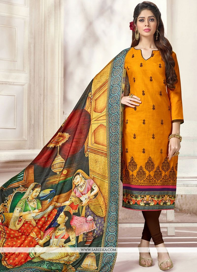 Cotton   Print Work Churidar Suit