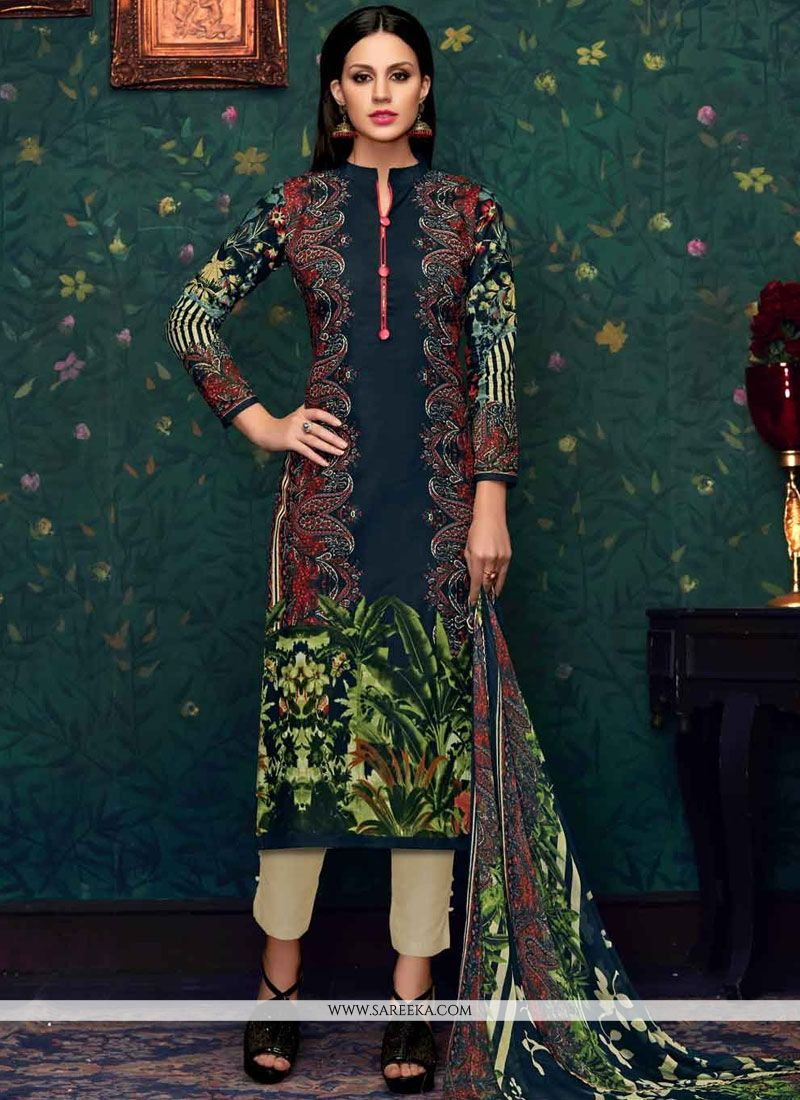 Cotton   Print Work Pant Style Suit