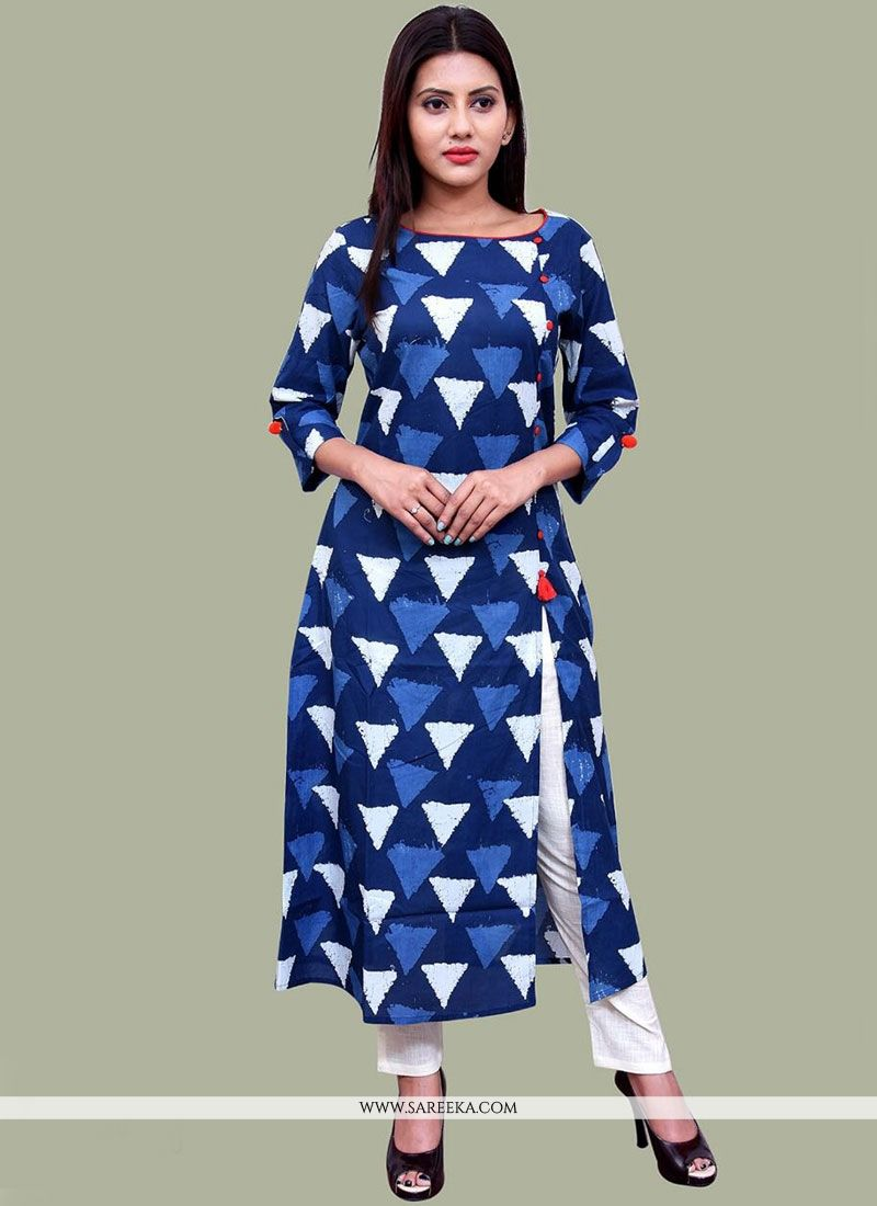 Cotton   Print Work Party Wear Kurti
