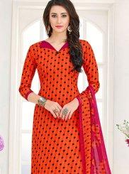 Cotton   Printed Churidar Suit in Orange