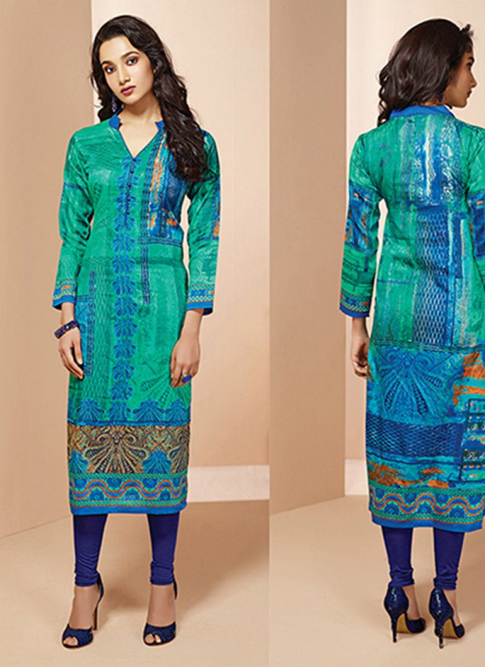 Cotton   Printed Sea Green Casual Kurti